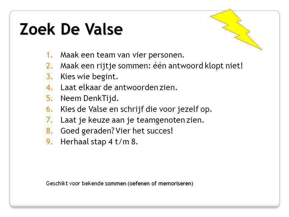 Zoek De Valse Maak een team van vier personen.