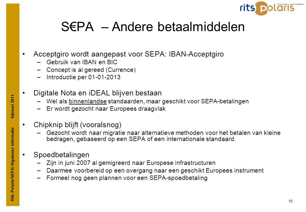 S€PA – Andere betaalmiddelen