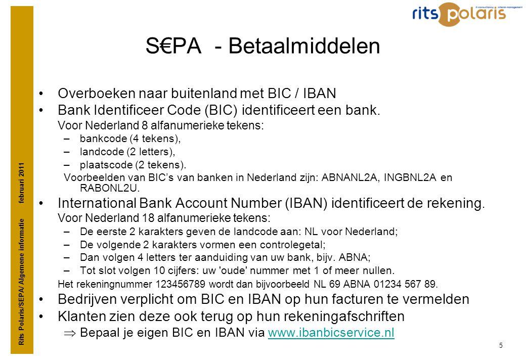 S€PA - Betaalmiddelen Overboeken naar buitenland met BIC / IBAN