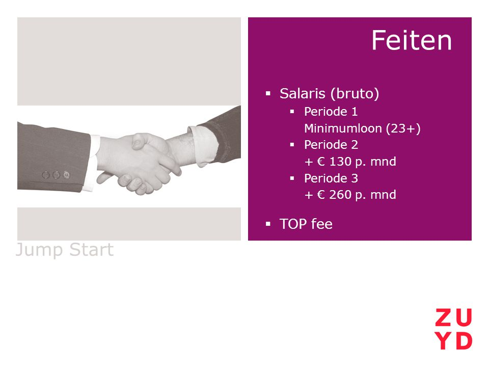 Feiten Jump Start Salaris (bruto) TOP fee Periode 1 Minimumloon (23+)