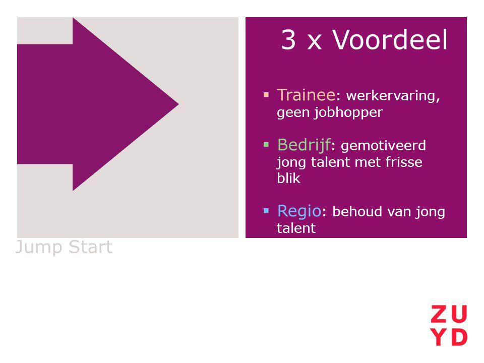 3 x Voordeel Jump Start Trainee: werkervaring, geen jobhopper