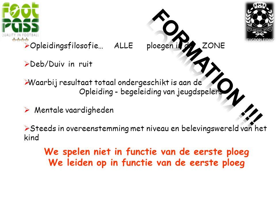 FORMATION !!! We spelen niet in functie van de eerste ploeg