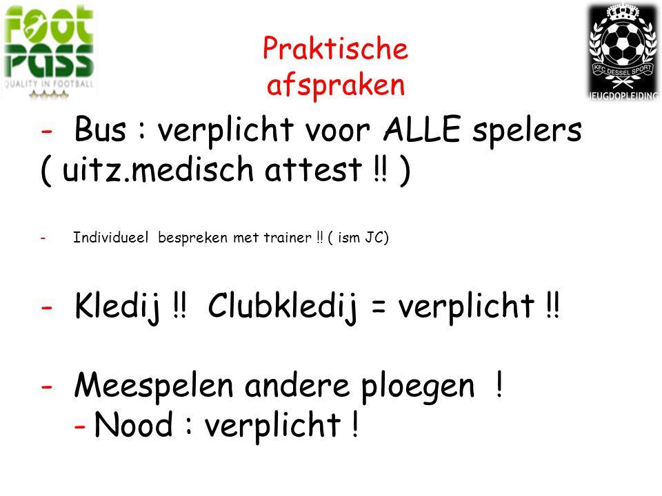 Bus : verplicht voor ALLE spelers ( uitz.medisch attest !! )