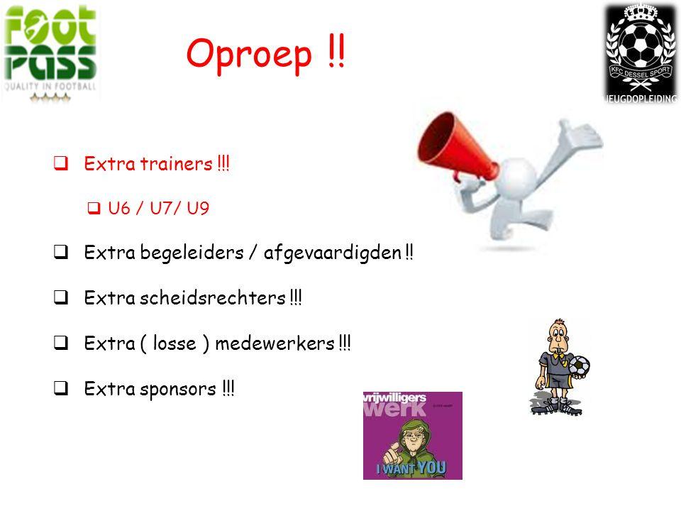 Oproep !! Extra trainers !!! Extra begeleiders / afgevaardigden !!