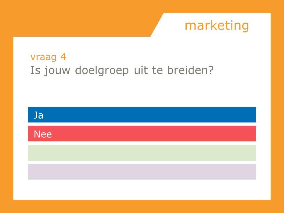 marketing vraag 4 Is jouw doelgroep uit te breiden Ja Nee