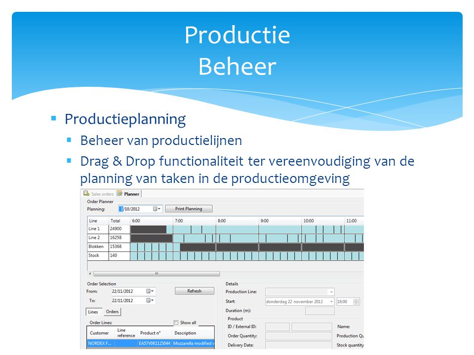 Productie Beheer Productieplanning Beheer van productielijnen