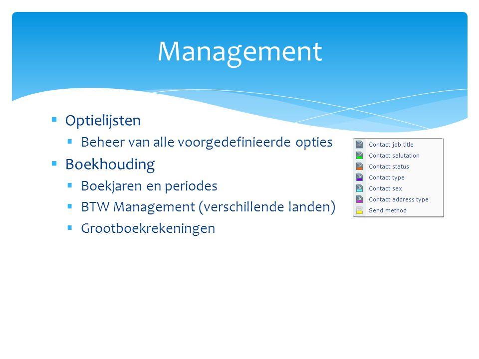Management Optielijsten Boekhouding
