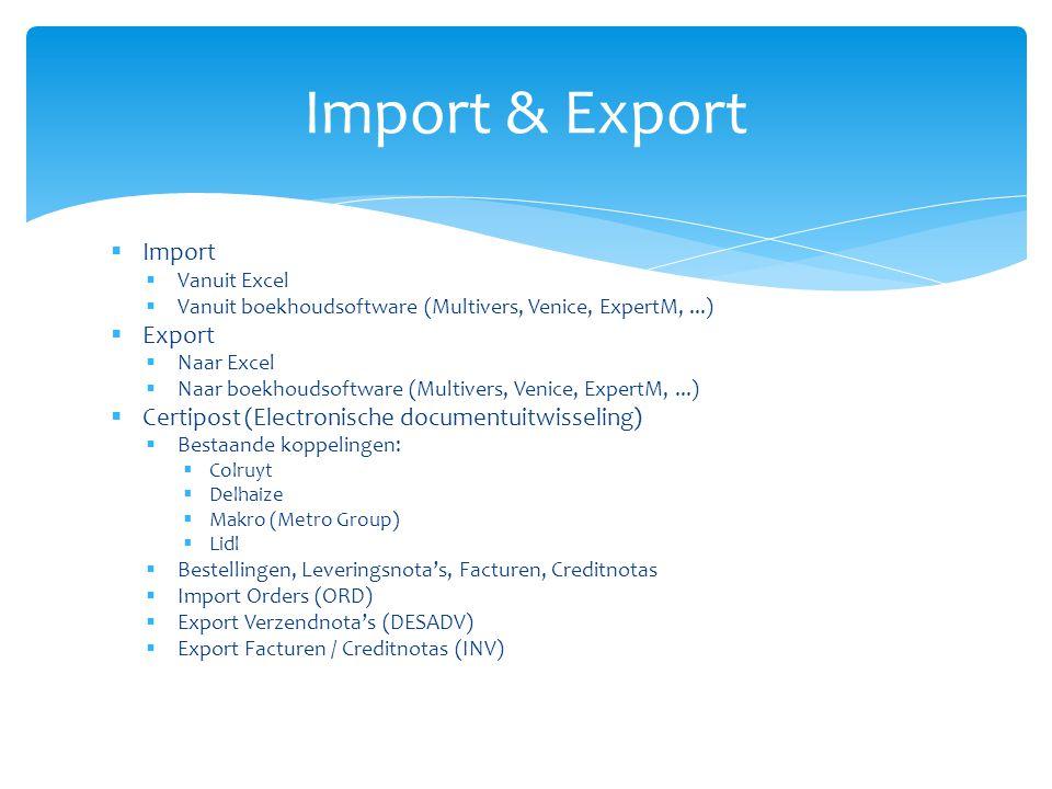 Import & Export Import Export