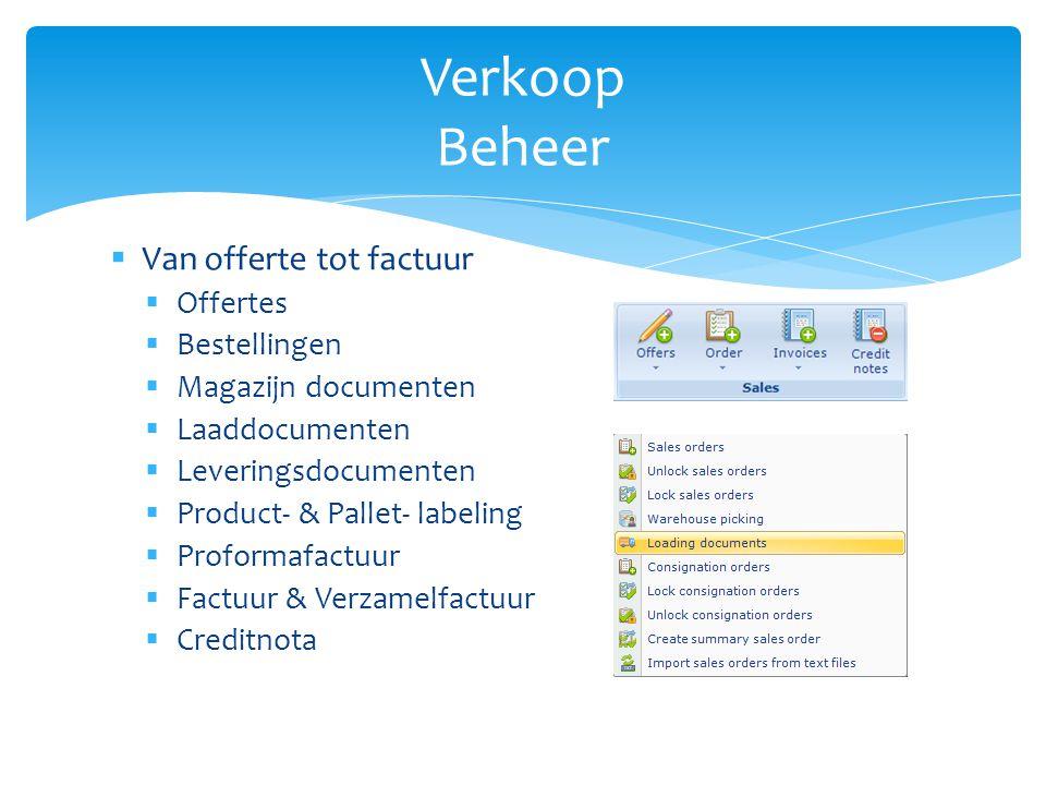 Verkoop Beheer Van offerte tot factuur Offertes Bestellingen