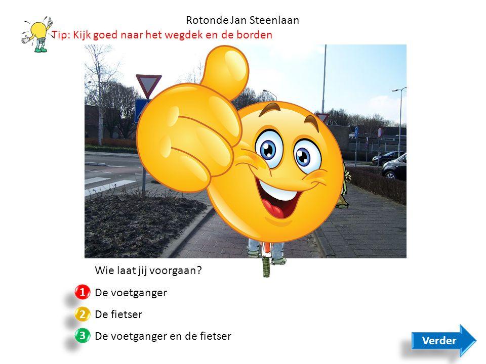 Rotonde Jan Steenlaan Tip: Kijk goed naar het wegdek en de borden. Wie laat jij voorgaan De voetganger.