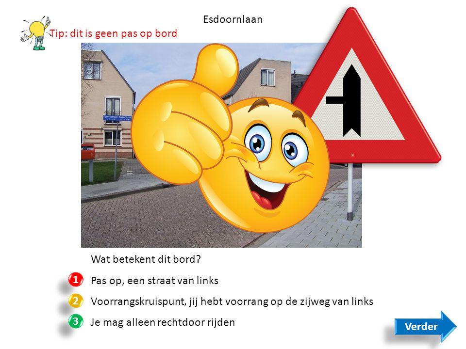 Esdoornlaan Tip: dit is geen pas op bord. Wat betekent dit bord Pas op, een straat van links.