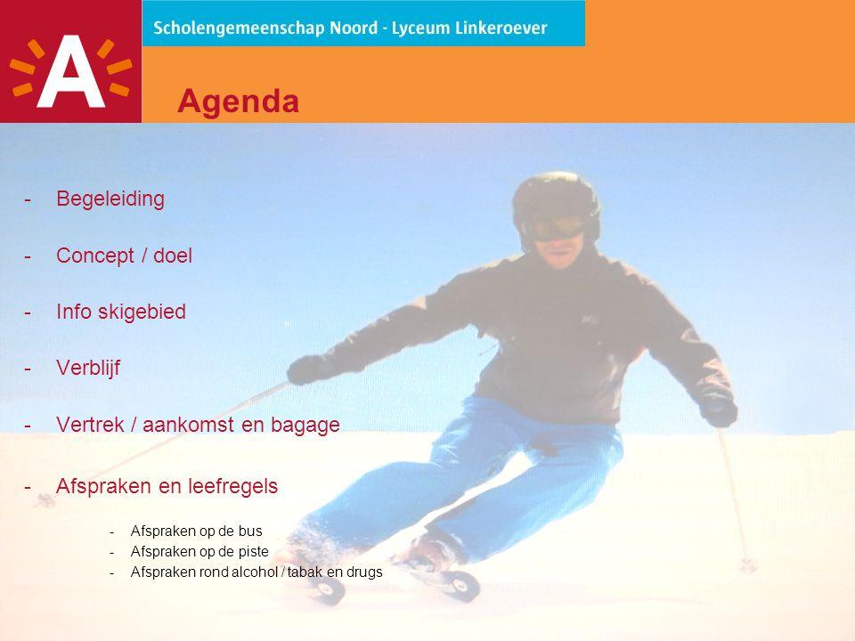 Agenda Begeleiding Concept / doel Info skigebied Verblijf