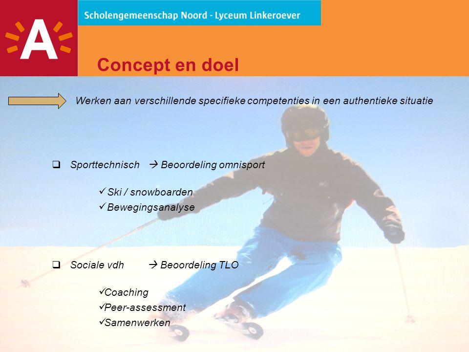 Concept en doel Werken aan verschillende specifieke competenties in een authentieke situatie. Sporttechnisch  Beoordeling omnisport.