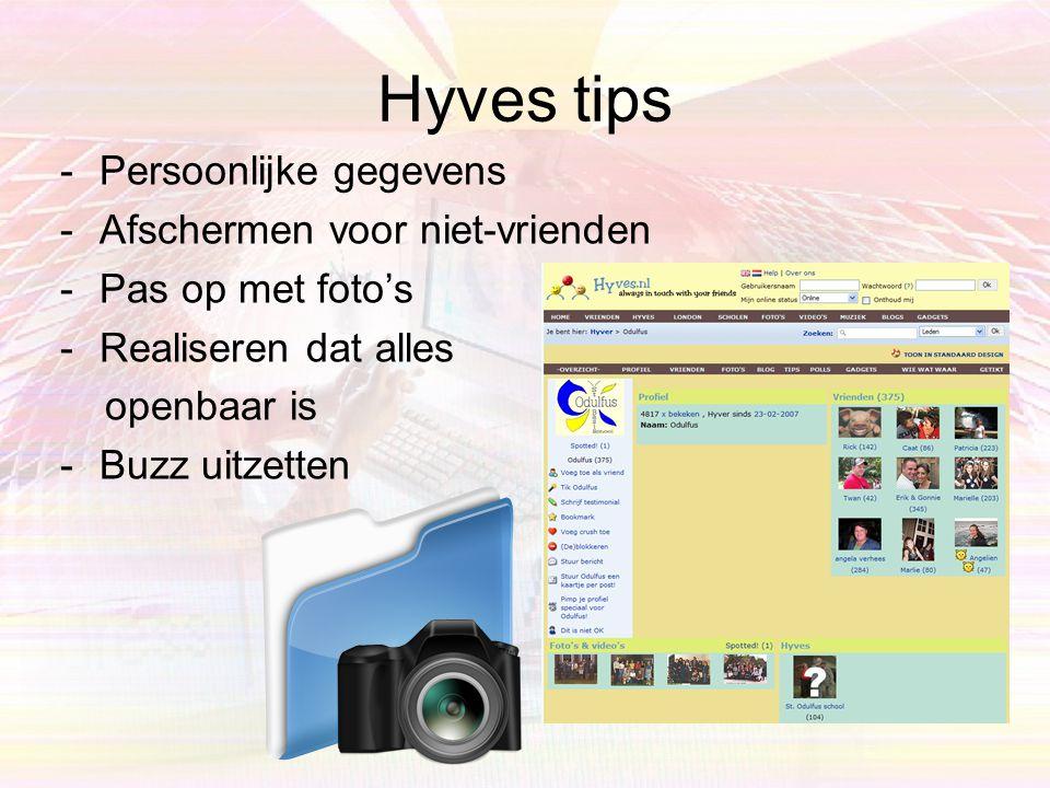 Hyves tips Persoonlijke gegevens Afschermen voor niet-vrienden