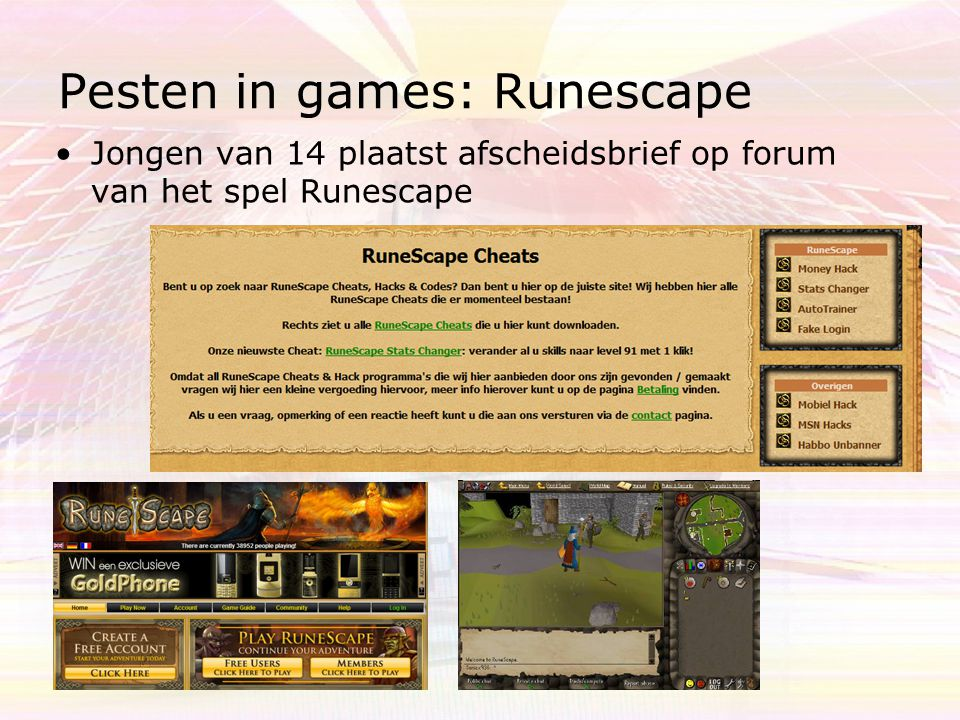 Pesten in games: Runescape