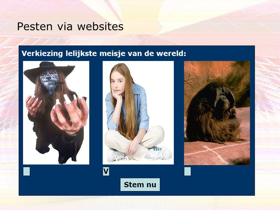 Pesten via websites Verkiezing lelijkste meisje van de wereld: V