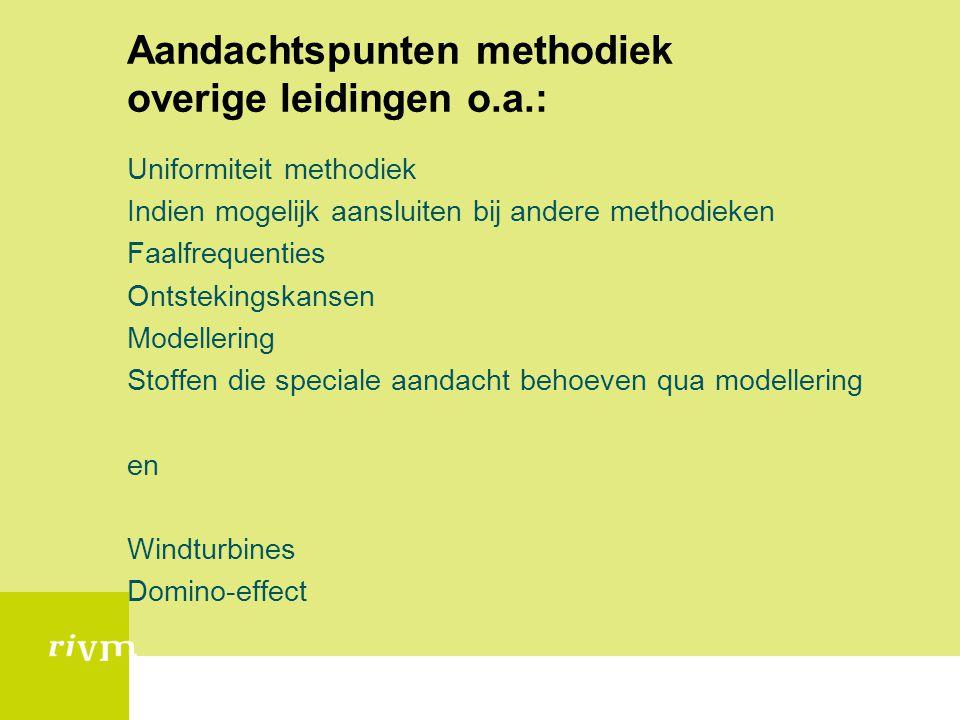 Aandachtspunten methodiek overige leidingen o.a.: