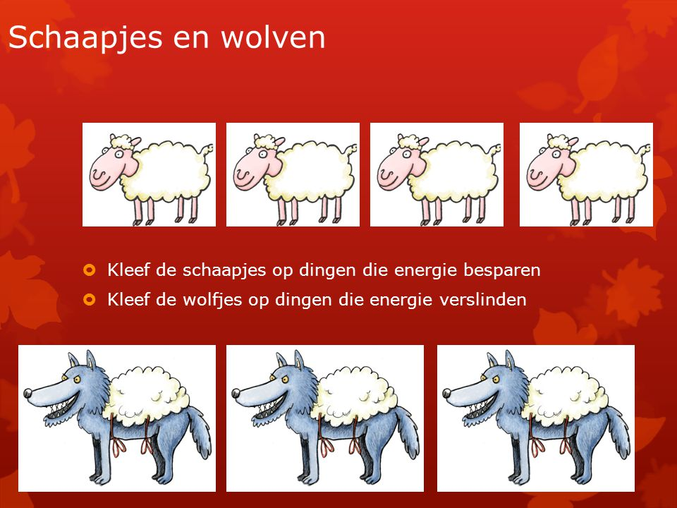 Schaapjes en wolven Kleef de schaapjes op dingen die energie besparen