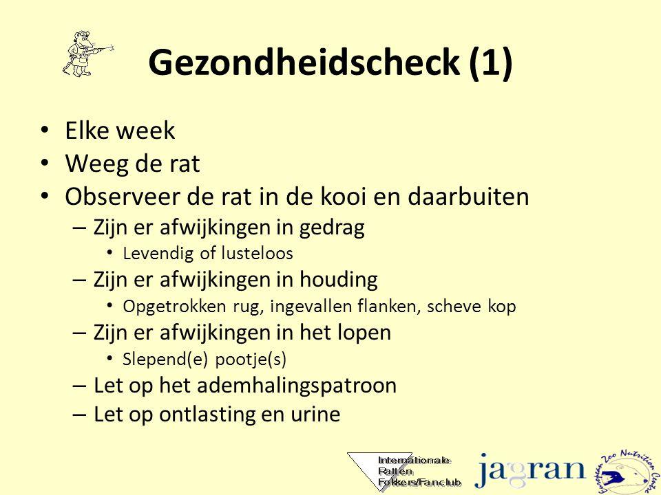 Gezondheidscheck (1) Elke week Weeg de rat