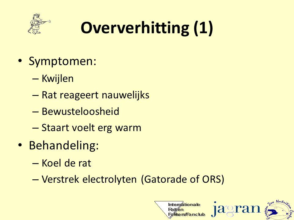 Oververhitting (1) Symptomen: Behandeling: Kwijlen