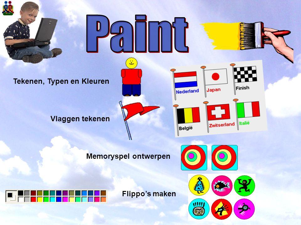 Paint Tekenen, Typen en Kleuren Vlaggen tekenen Memoryspel ontwerpen