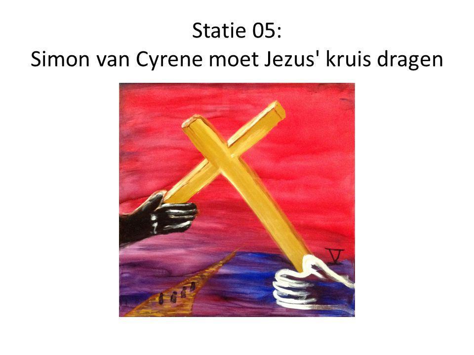 Statie 05: Simon van Cyrene moet Jezus kruis dragen