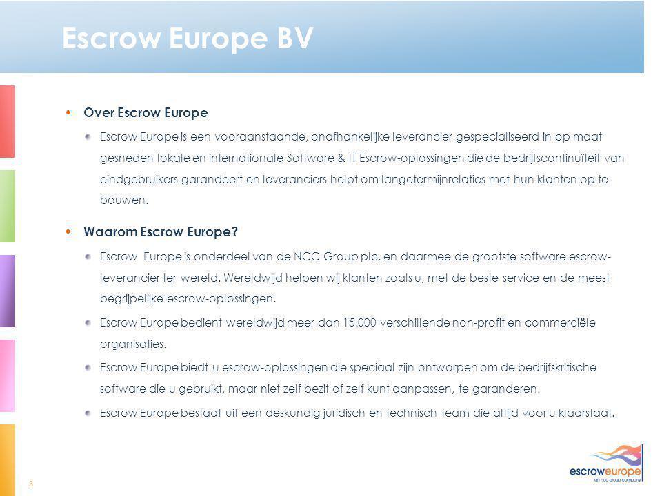Escrow Europe BV Over Escrow Europe Waarom Escrow Europe