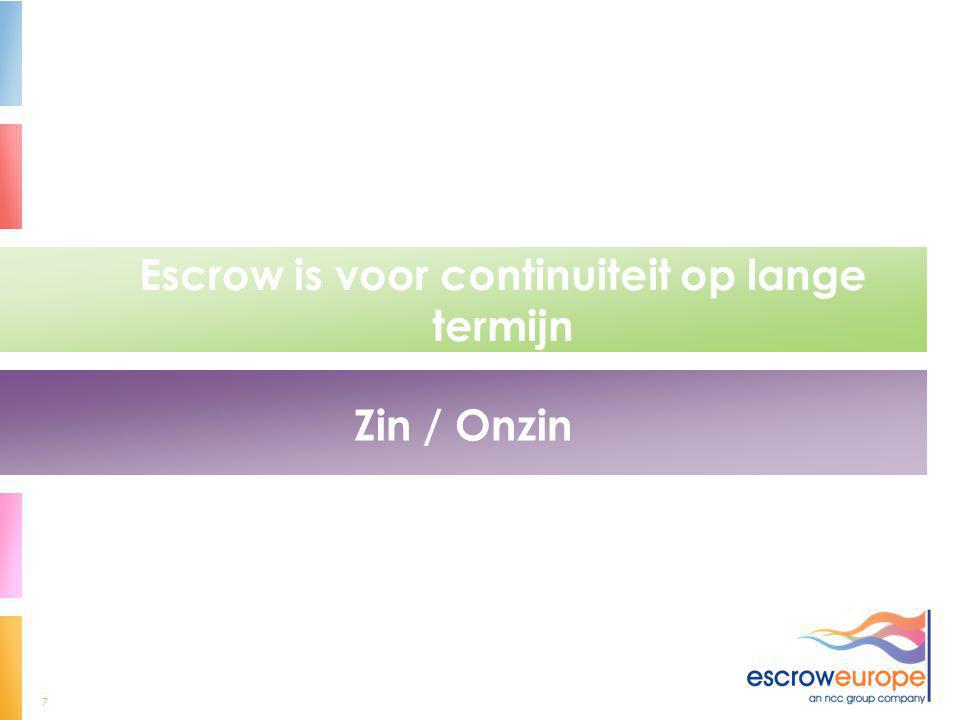 Escrow is voor continuiteit op lange termijn