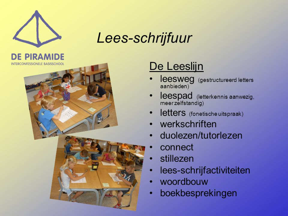 Lees-schrijfuur De Leeslijn leesweg (gestructureerd letters aanbieden)