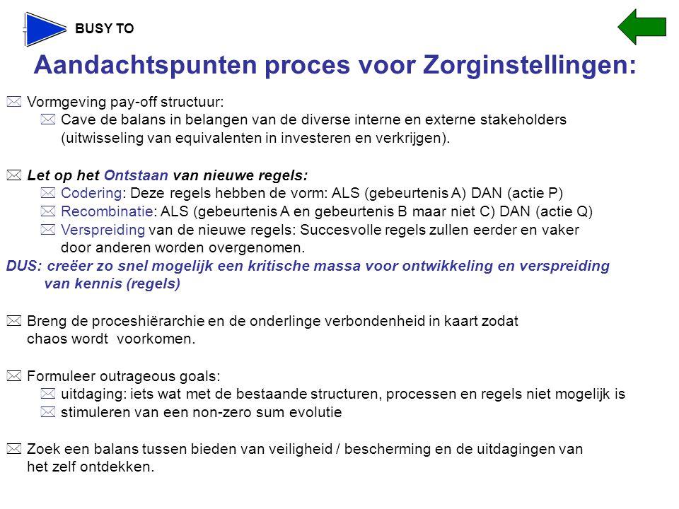 Aandachtspunten proces voor Zorginstellingen: