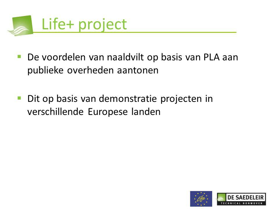 Life+ project De voordelen van naaldvilt op basis van PLA aan publieke overheden aantonen.
