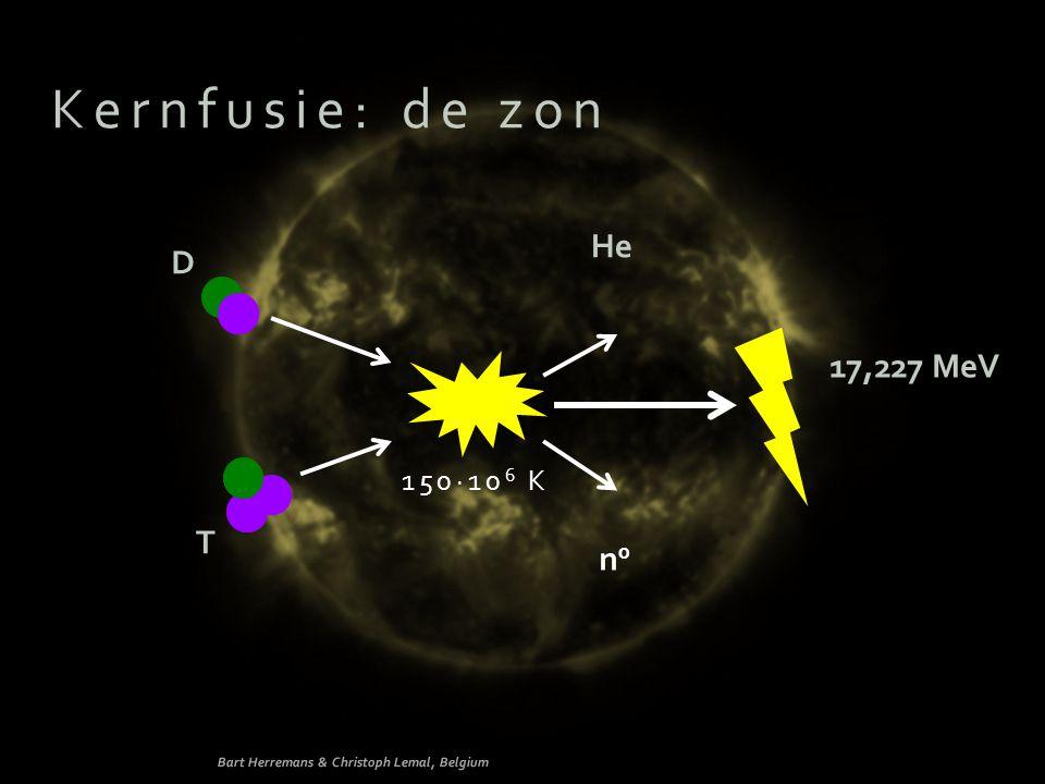 Kernfusie: de zon He D 17,227 MeV T n0 150∙106 K