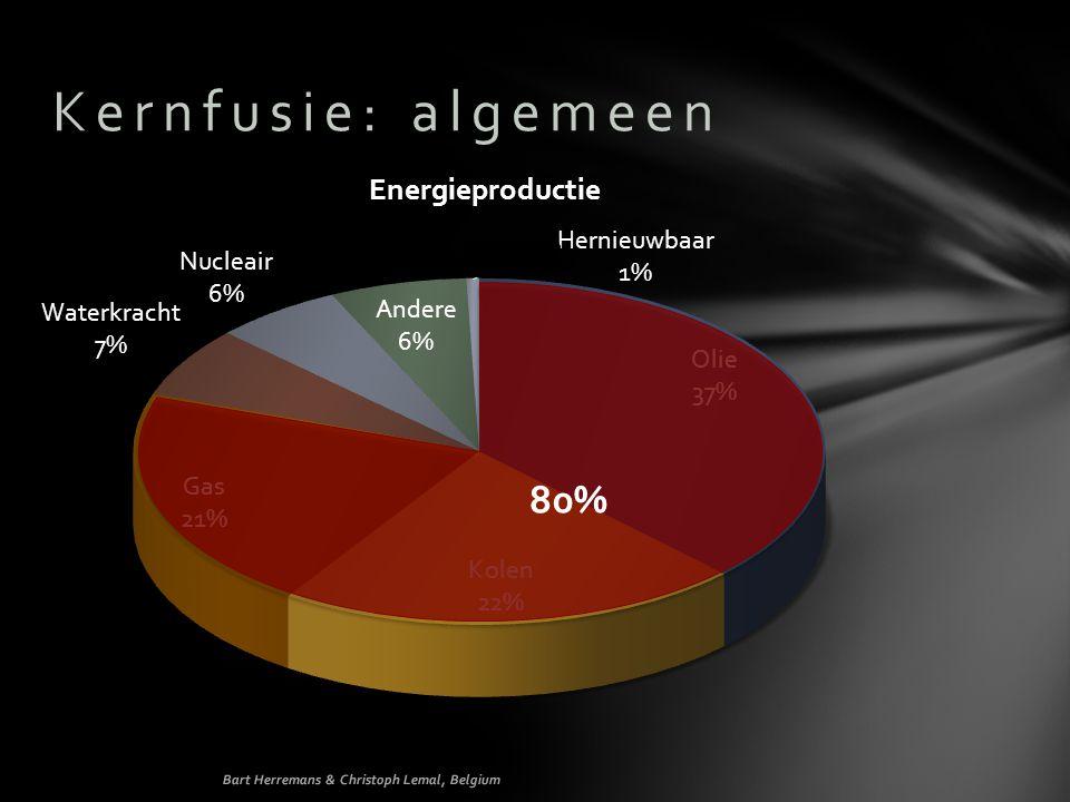 Kernfusie: algemeen 80% Energieproductie