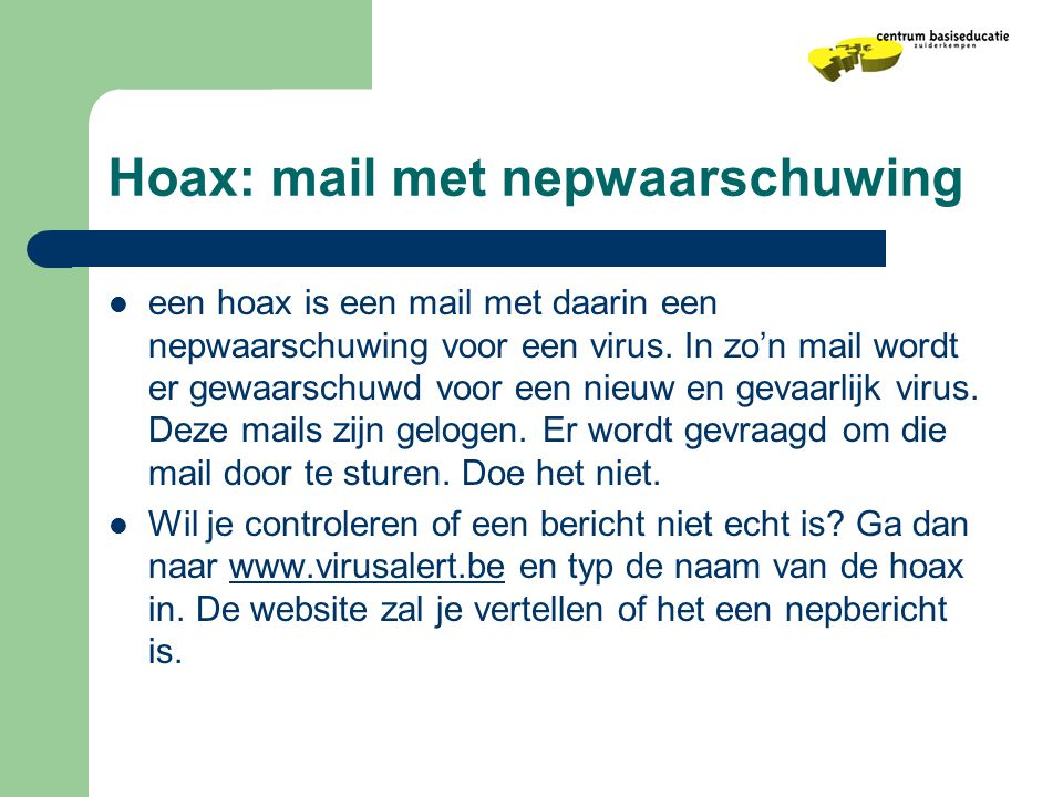 Hoax: mail met nepwaarschuwing