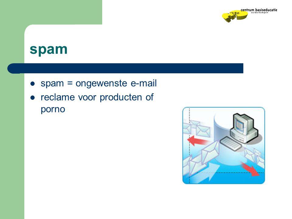 spam spam = ongewenste e-mail reclame voor producten of porno