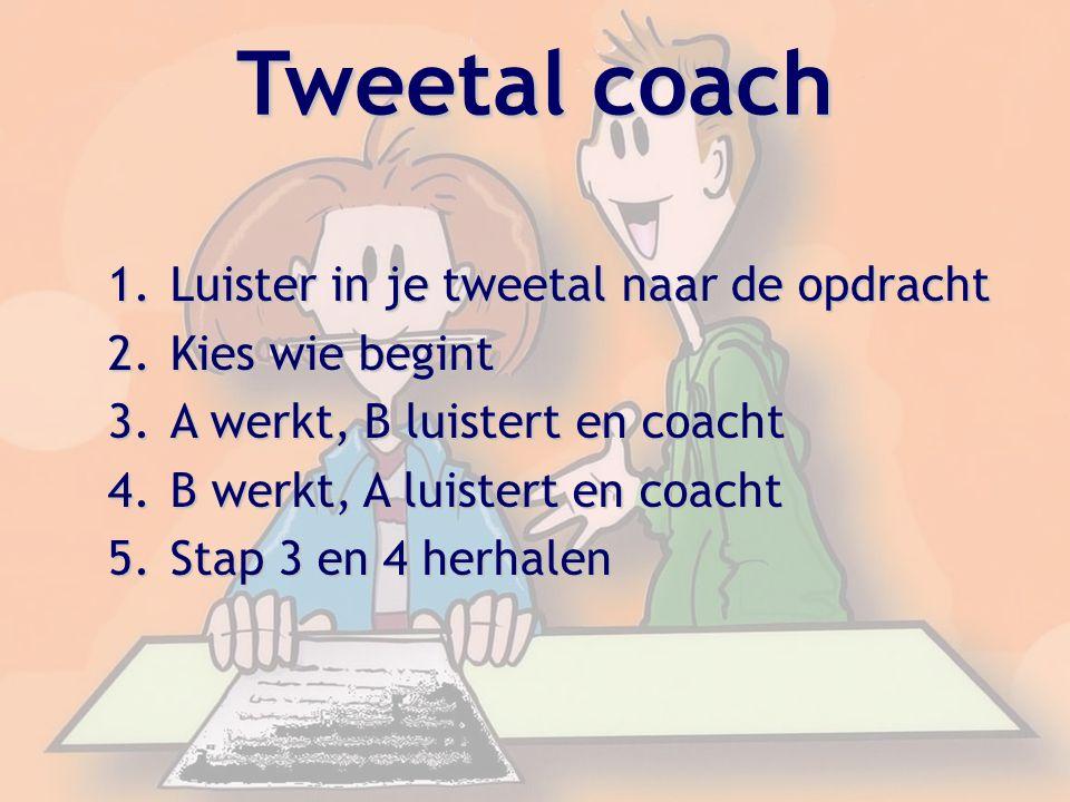Tweetal coach Luister in je tweetal naar de opdracht Kies wie begint