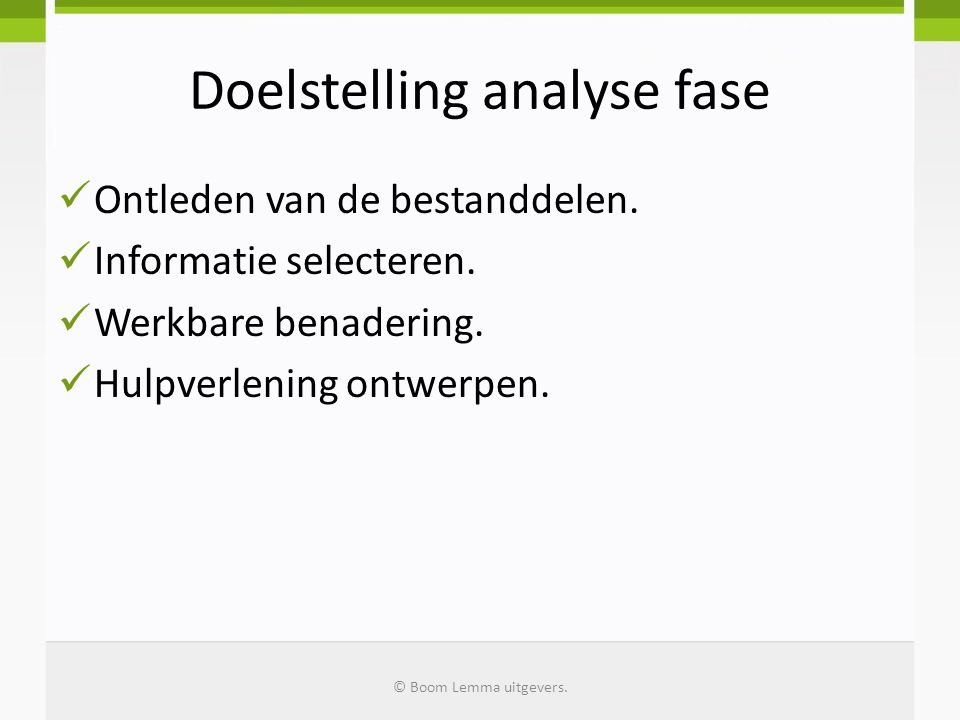 Doelstelling analyse fase