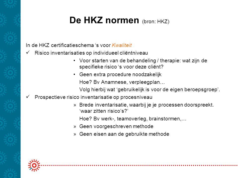 De HKZ normen (bron: HKZ)