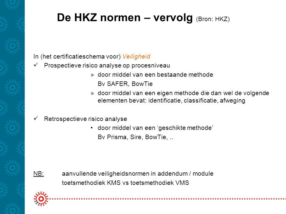 De HKZ normen – vervolg (Bron: HKZ)