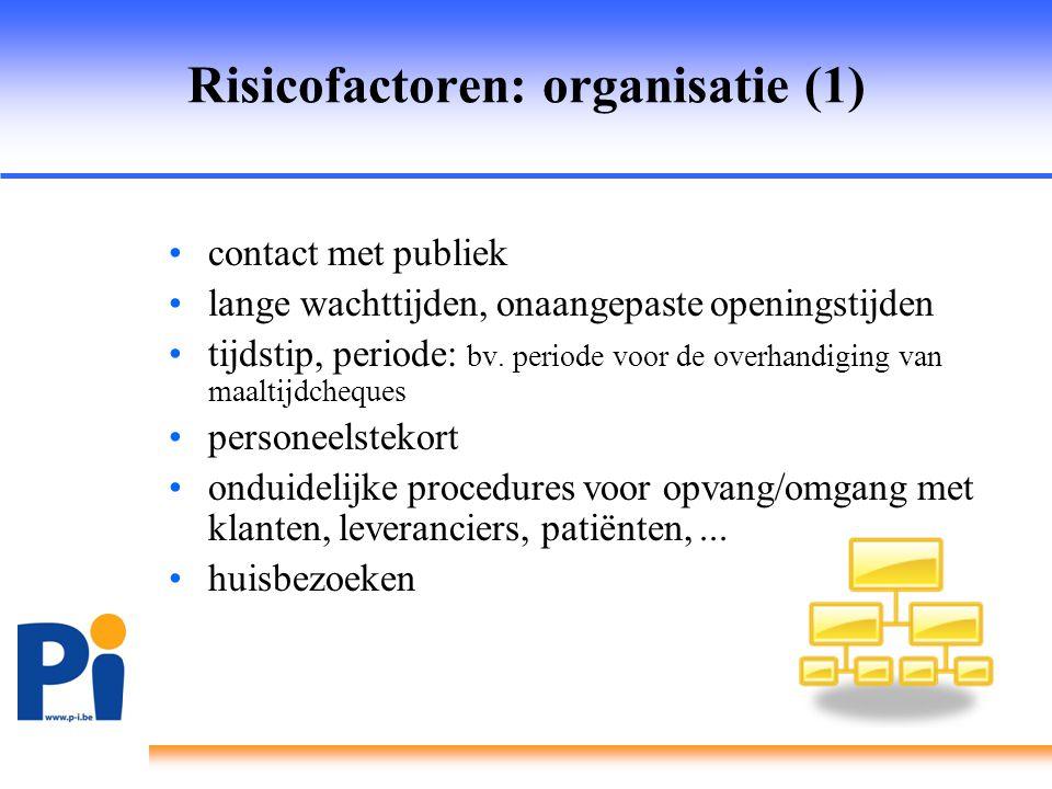 Risicofactoren: organisatie (1)