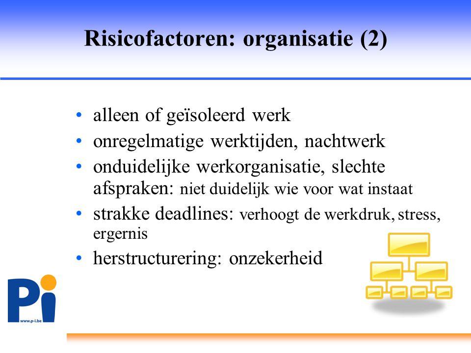 Risicofactoren: organisatie (2)