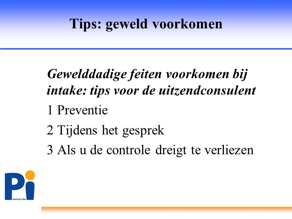 Tips: geweld voorkomen