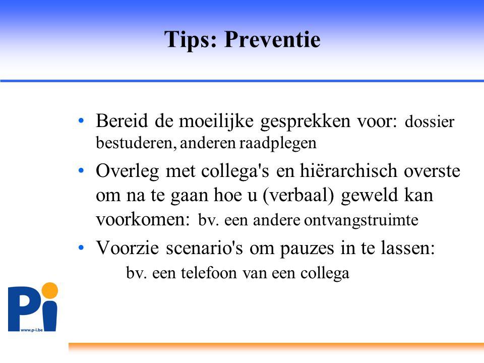 Tips: Preventie Bereid de moeilijke gesprekken voor: dossier bestuderen, anderen raadplegen.