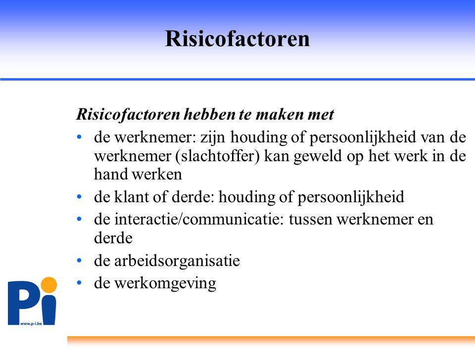 Risicofactoren Risicofactoren hebben te maken met