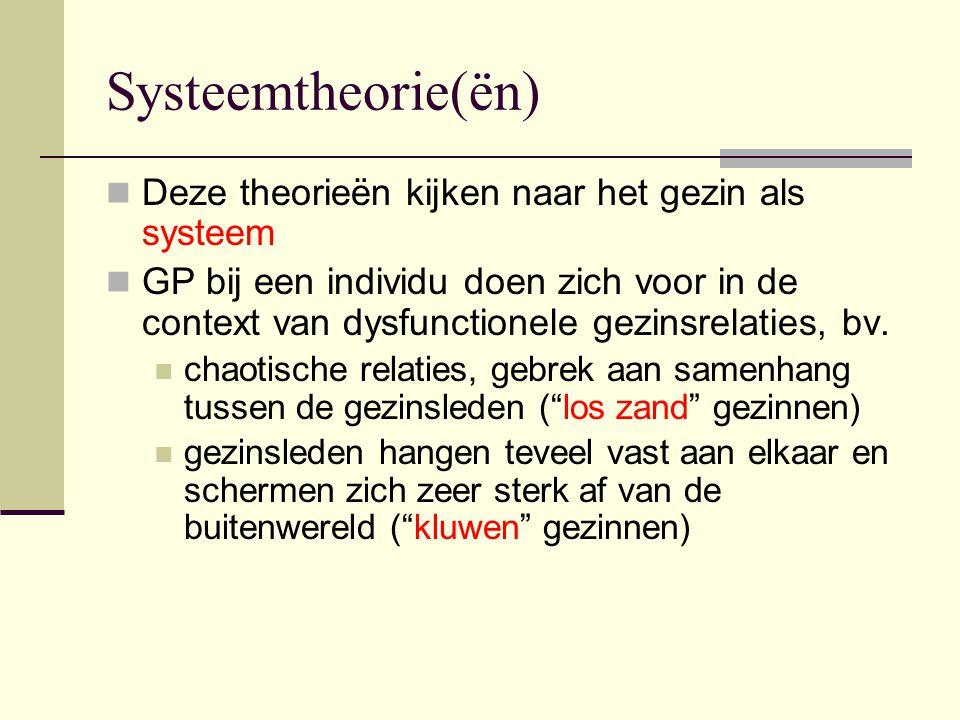 Systeemtheorie(ën) Deze theorieën kijken naar het gezin als systeem
