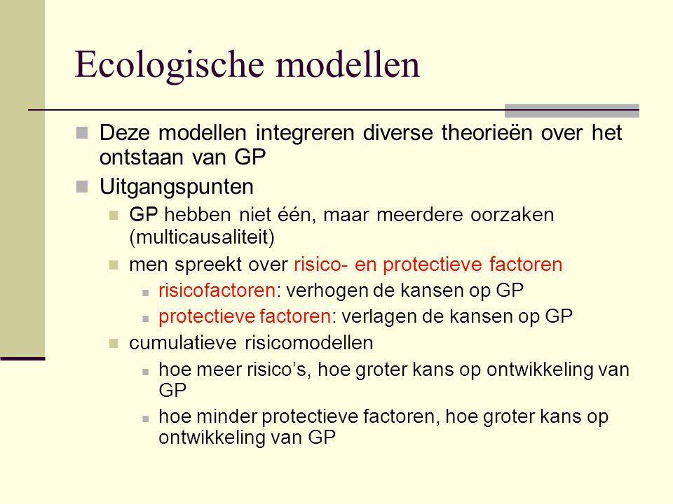Ecologische modellen Deze modellen integreren diverse theorieën over het ontstaan van GP. Uitgangspunten.