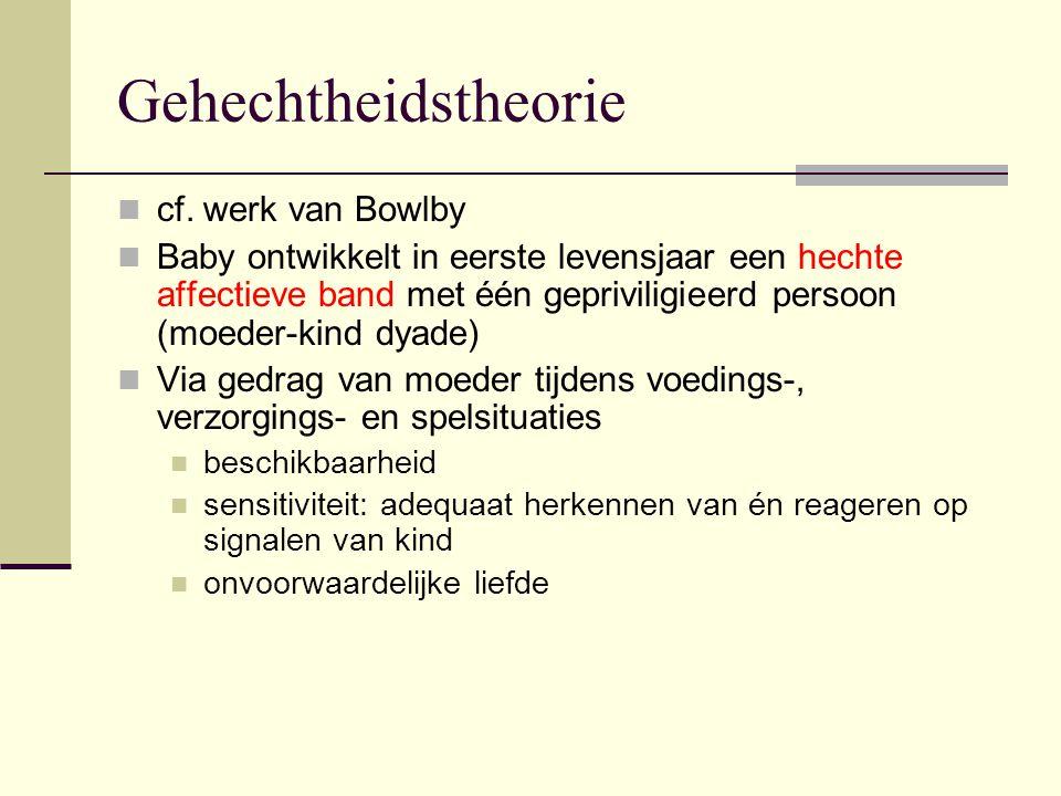 Gehechtheidstheorie cf. werk van Bowlby