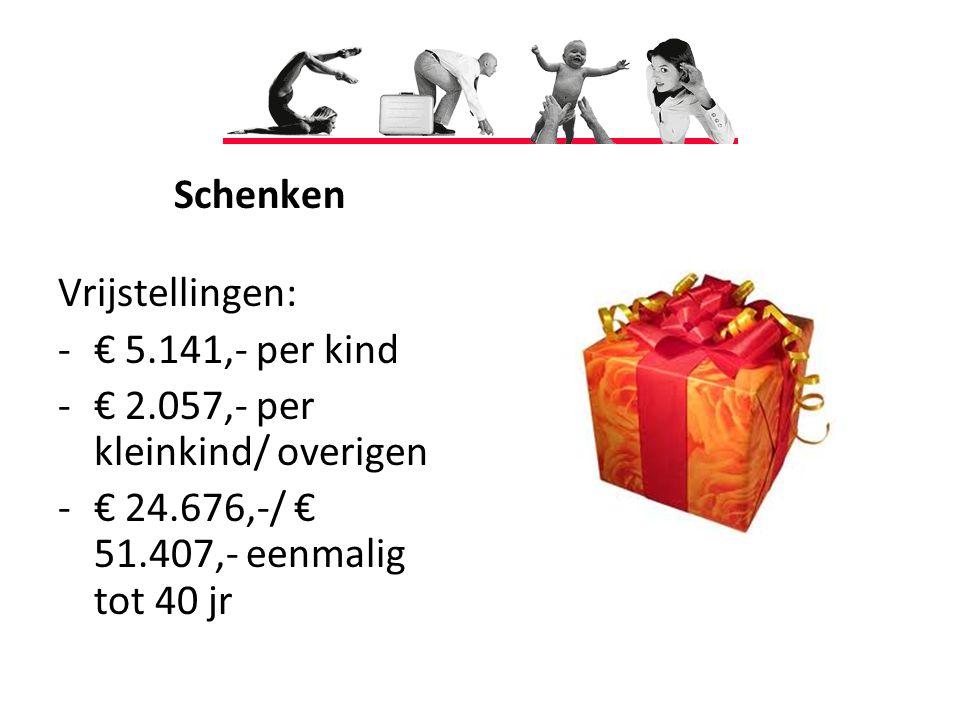 Schenken Vrijstellingen: € 5.141,- per kind. € 2.057,- per kleinkind/ overigen.