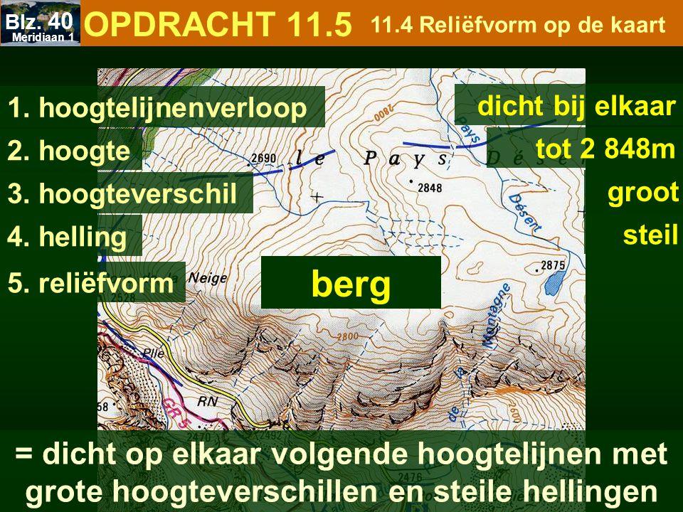 Meridiaan 1 Blz. 40. OPDRACHT 11.5. 11.4 Reliëfvorm op de kaart. 1. hoogtelijnenverloop. dicht bij elkaar.