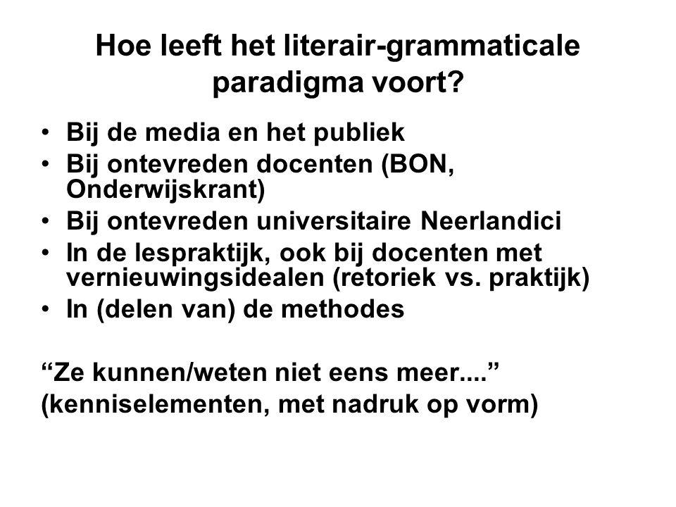 Hoe leeft het literair-grammaticale paradigma voort